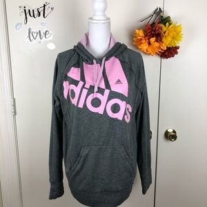 ADIDAS WOMEN HOODIE PINK/GRAY PULLOVER SZ XL